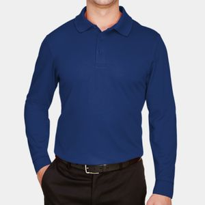 CrownLux Performance™ Men's Plaited Long Sleeve Polo Thumbnail